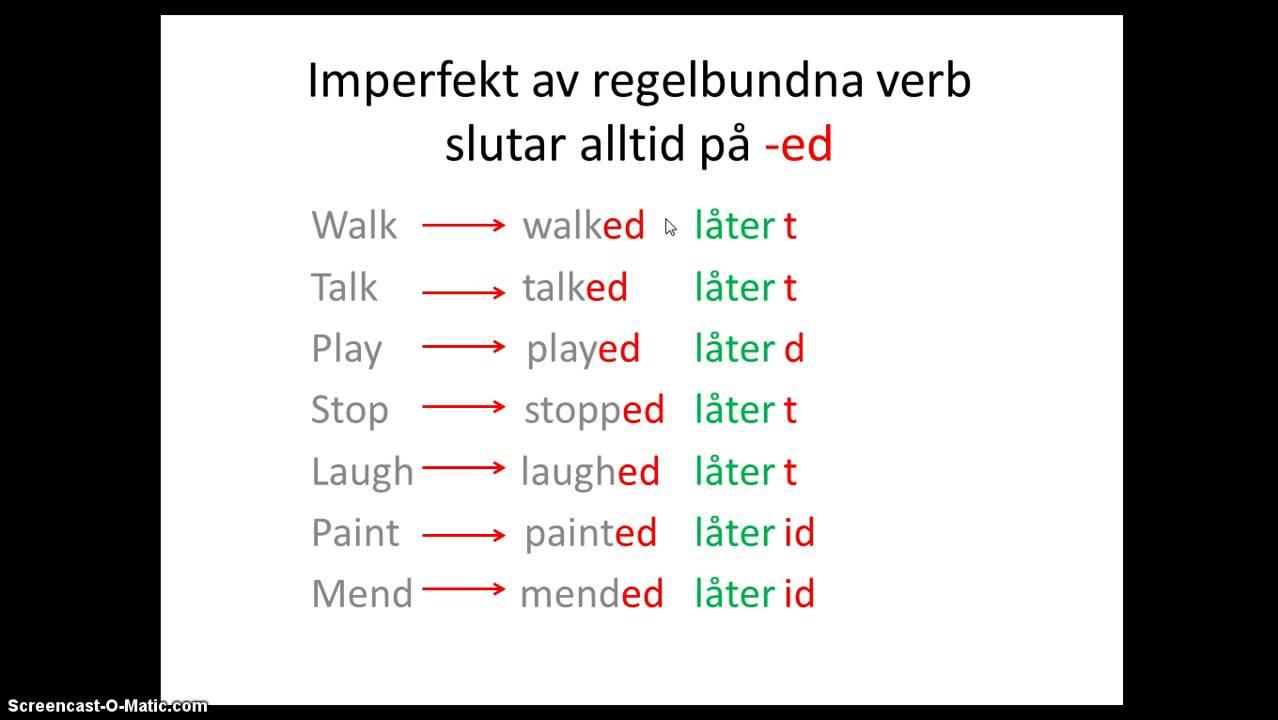 Att böja regelbundna verb i imperfekt i engelskan