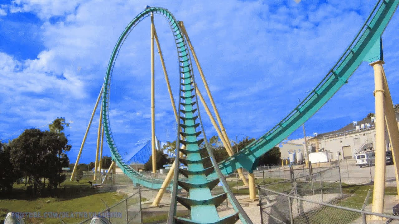kraken floorless roller coaster on-ride front seat (hd pov) seaworld