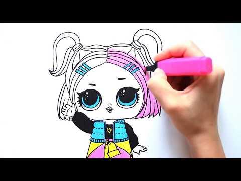 Рисуем куклу ЛОЛ  Конфетти V R Q T  ¦ LOL coloring Surprise doll V R Q T