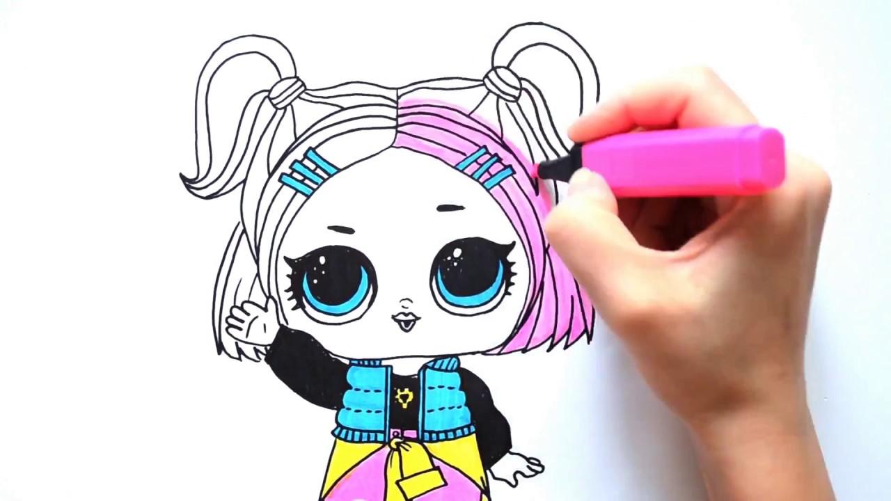 Рисуем куклу ЛОЛ Конфетти V R Q T ¦ LOL coloring Surprise ...