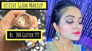 Easy Glitter Eye Makeup   TS Cosmetics Pressed Glitter   Indian Festive Glam Makeup