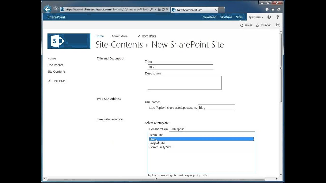 How To Create A New Sharepoint 2013 Blog Site Sharepoint