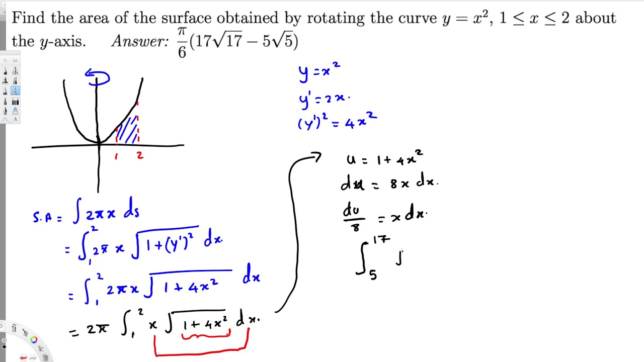 Find The Area Of The Surface Obtained By Rotating The Curve Y X2 1  E2 89 A4 X  E2 89 A4 2 About The Y Axis