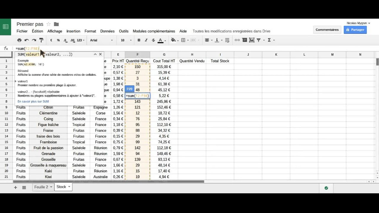 modele facture google sheet