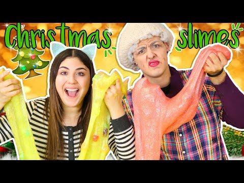 MAKING GIANT CHRISTMAS SLIMES WITH GRANDMA | Slimeatory #234