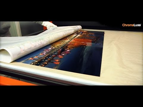 Sublimating large format ChromaLuxe HD metal photo panels