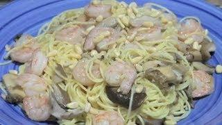 Shrimp Capellini in Lemon Butter Sauce With Pine Nuts & Mushrooms : Mushroom Recipes & More