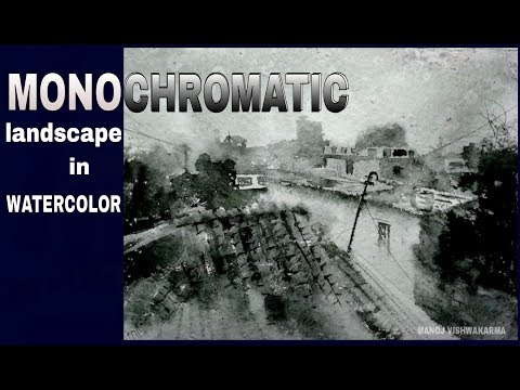 Monochromatic watercolor painting tutorial :black and white landscape painting