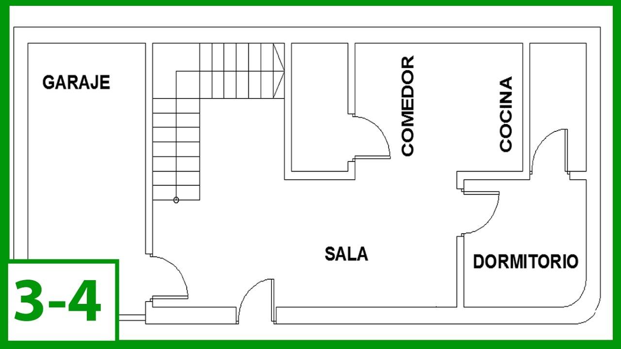 Autocad c mo dibujar un plano de una casa escalera y for Programa para distribuir una casa