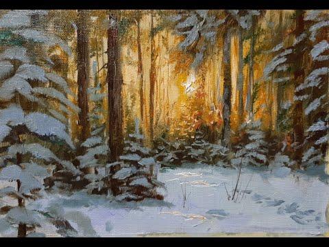 Рисуем сосновый лес.Мастер-классы Вугара Мамедова