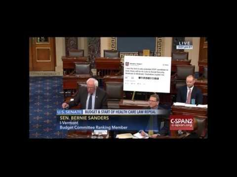 Bernie Sanders Trolls President Elect With Big Poster of Trump Tweet on Senate Floor  Funny