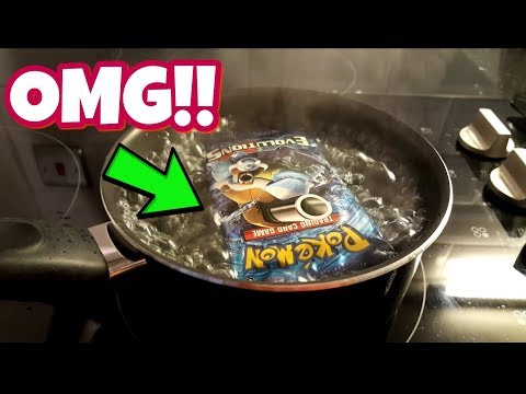 WHAT HAVE I DONE?! YOU WILL BE SURPRISED WITH THE RESULTS!! BOILING POKEMON CARDS! |