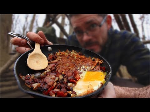 COOKING MY BEST CAMPFIRE BREAKFAST YET - Bacon Egg & Onion Hash Brown (Bushcraft Cooking)