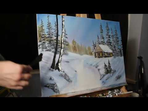 Painting a Snowy Landscape in Oils- Timelapse.