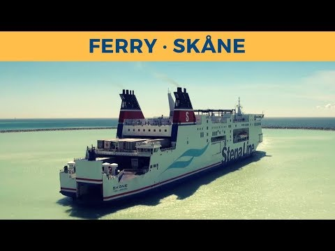 Arrival of train ferry SKÅNE in Trelleborg