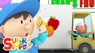 Fran Obst-LKW geht durch die Waschanlage | Karikatur für Kinder