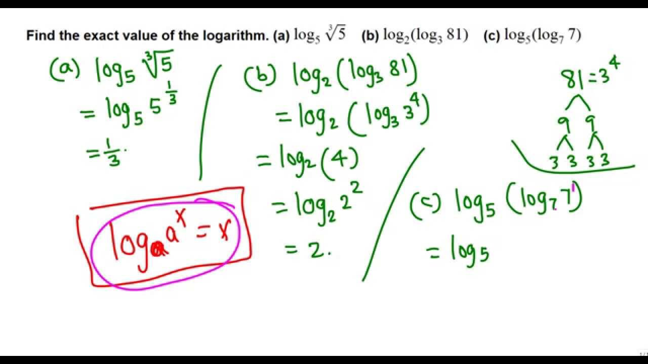 Finding exact value of logarithm without calculator - YouTube