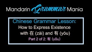 Chinese Grammar: How to Express Existence with 在 (zai) and 有 (yŏu) Part 2 of 2: 有 (yŏu)