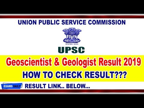 UPSC Geoscientist Geologist Result 2019