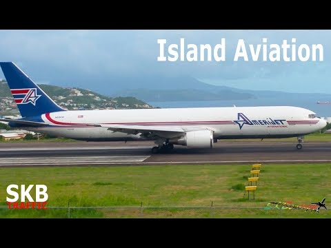 Amerijet 767-300F - American Airlines A320 departing St. Kitts Airport !!!