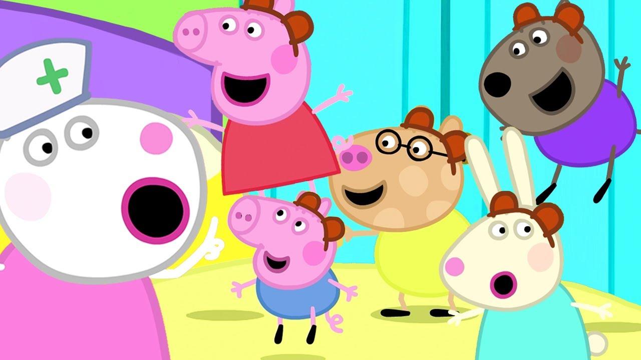 Peppa Pig - Five little Monkeys Jumping on the Bed | Nursery Rhymes & Kids Songs