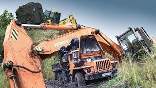 УРАЛ-4320 и ЗИЛ-131 в грязи. Или как утопить экскаватор.