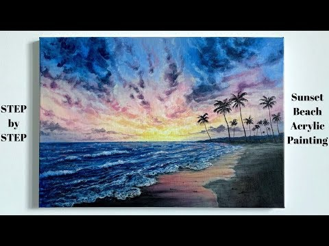 Sunset Beach STEP by STEP Acrylic Painting Tutorial (ColorByFeliks)
