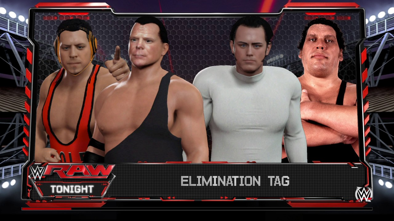 b2cf8824ba05 WWE 2K16 Andy Kaufman,Andre The Giant VS Jerry 'The King' Lawler,Michael  Cole Elimination Tag Match