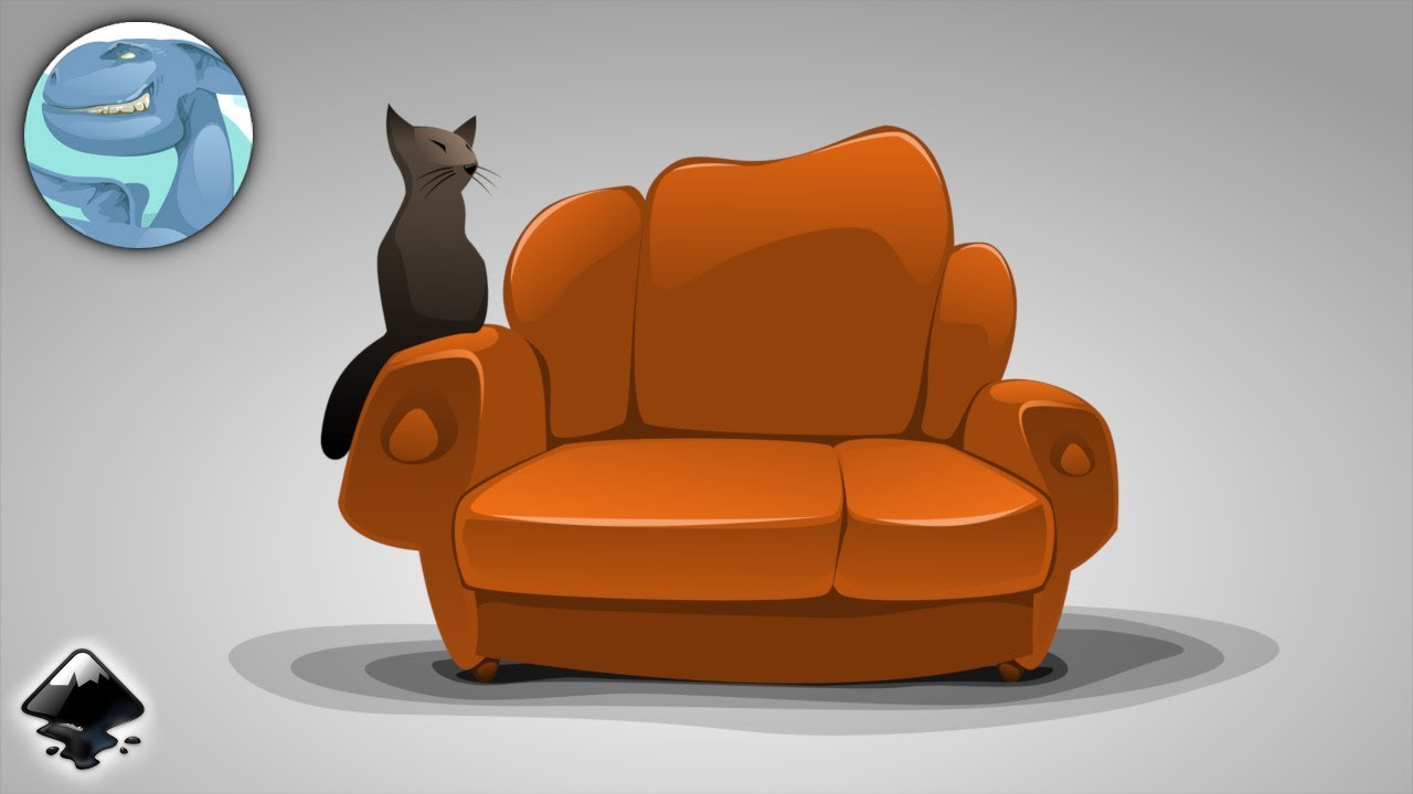 Black Cat On A Sofa Vector Graphics With Inkscape Youtube
