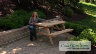 Red Cedar Picnic Table with Attached Benches from CedarStore.com