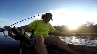 """Kayak Bass Fishing (Gary Yamamoto 5"""" Swim Senko, soft plastic bait)"""