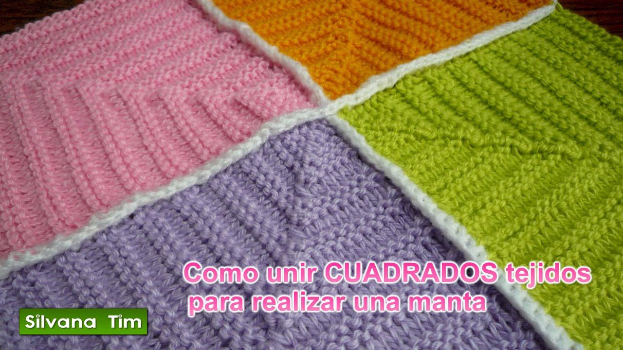 Como Hacer Cuadros De Crochet Para Mantas.Como Unir Cuadrados Tejidos Con Dos Agujas Para Realizar Una Manta