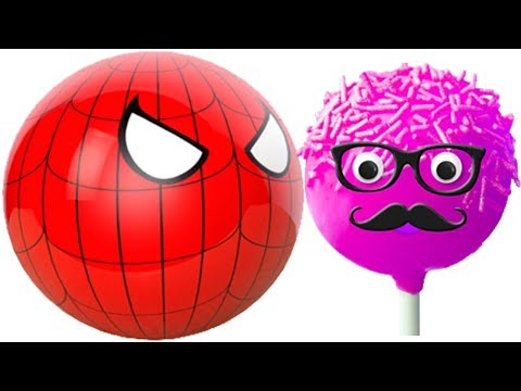 Thumbnail: Learning Colors with 3D Pacman Suprise Eggs Spiderman eating lollipops cake pops Painting Cartoons f