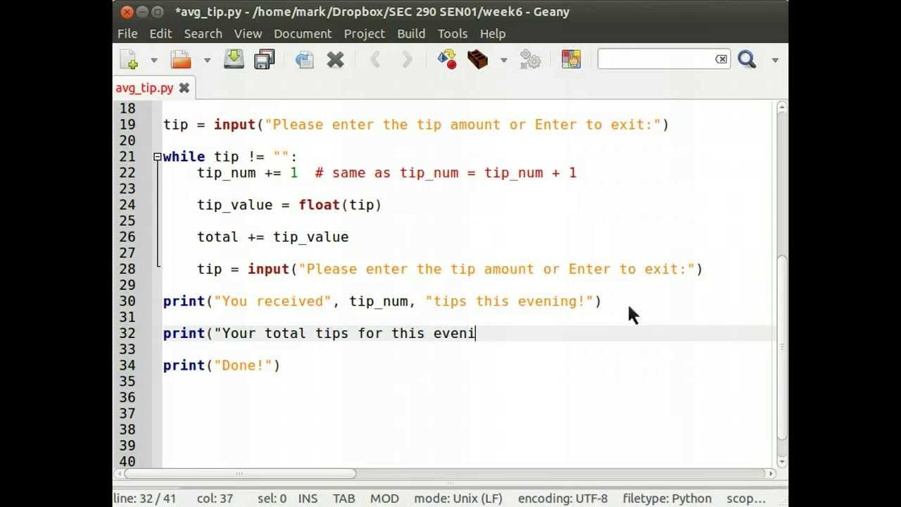 Using a while loop in Python to maintain a counter and a running total