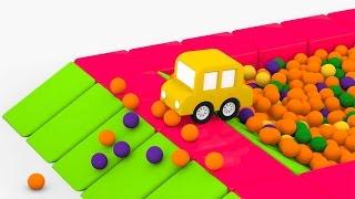 Мультики для самых маленьких. 4 машинки. Сухой бассейн с шариками(Мультик про машинки для детей. Четыре машинки приехали в игровой городок, чтобы прокатиться с горки и нырну..., 2016-01-29T18:00:17.000Z)