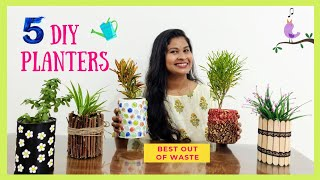 5 DIY Indoor planters Ideas | Creative Plant Pots From Waste Material