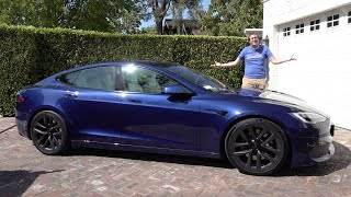 homepage tile video photo for The Tesla Model S Plaid Is the World's Fastest (and Coolest) Sedan