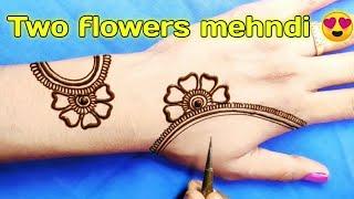 Two flowers easy mehndi design trick||दशहरा/नवरात्रि स्पेशल मेहंदी डिजाइन||करवा चौथ स्पेशल मेहंदी