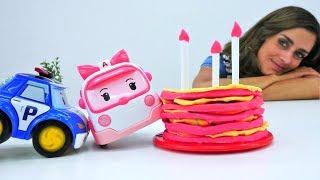 Video mit Robocar Poli auf Deutsch. Amber hat Geburtstag.