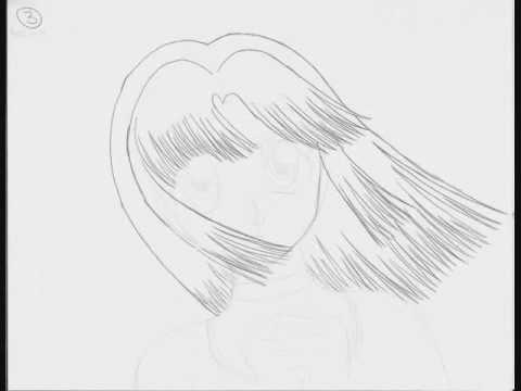 anime pencil test - hair blowing