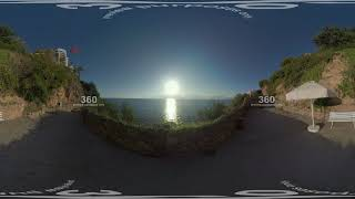 360 VR Picturesque seascape with sun viewed from the coast in Antalya, Turkey