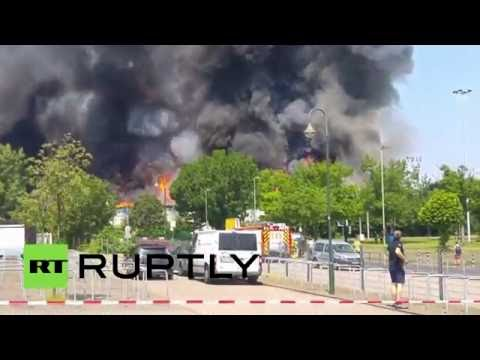 Huge fire rips through refugee camp in Germany, over 70 firefighters on scene
