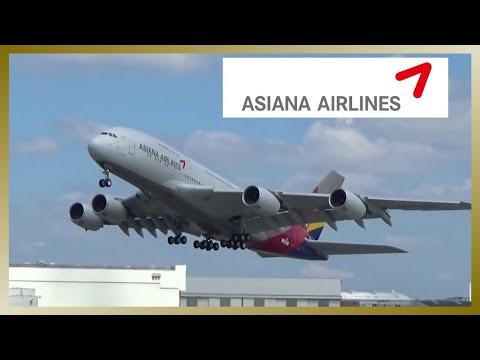 Beautiful ASIANA A380 takeoff at Hamburg Finkenwerder