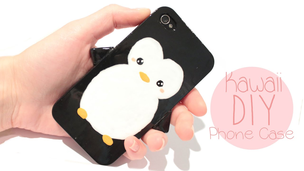 Diy penguin phone case easy and cute youtube for How to make phone cases at home