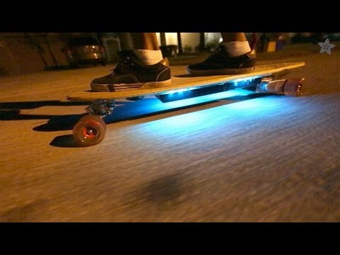 Light-up Skateboard with Adafruit NeoPixel + FLORA & 3D printed battery  enclosure