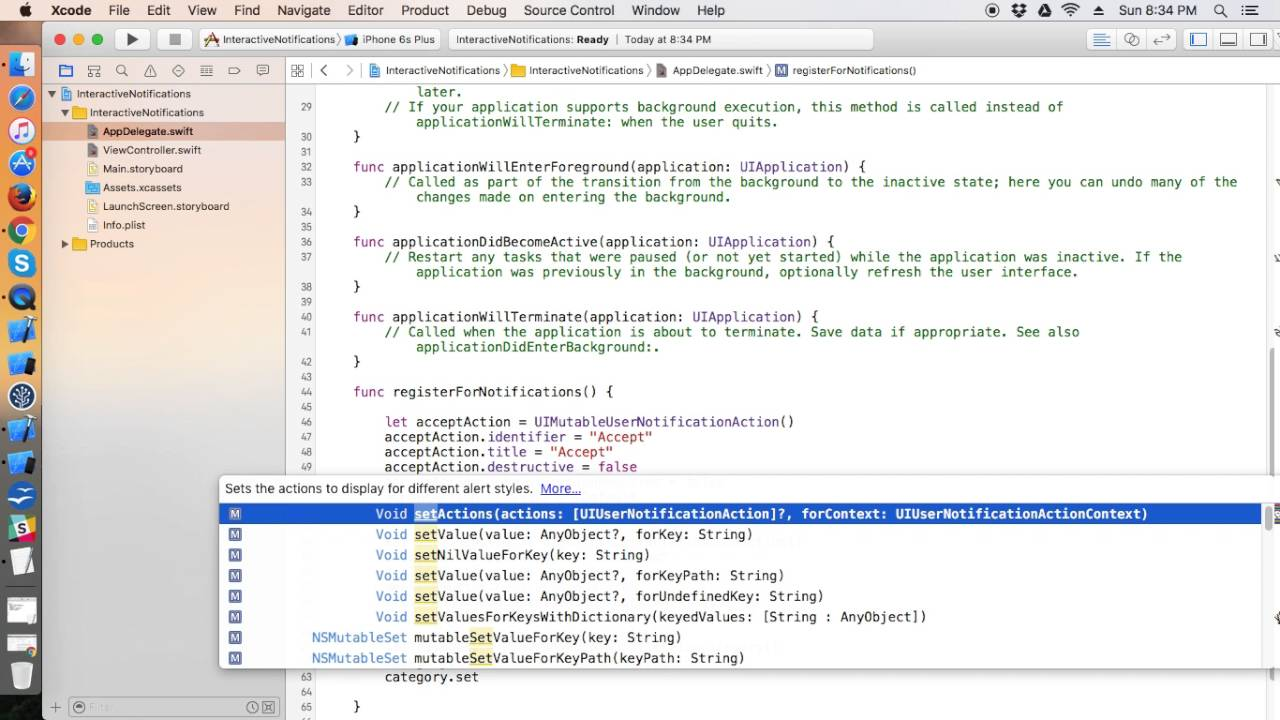 Interactive Notifications in Swift