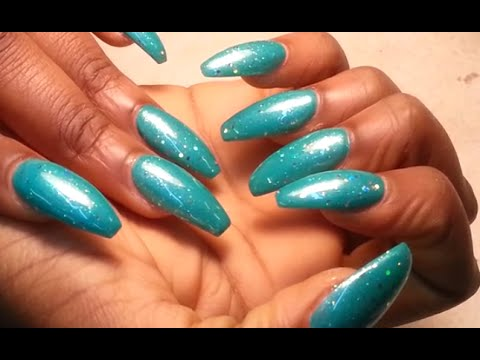 Acrylic Nails How Easy Way Scissors Cut Coffin Nail Shape Youtube