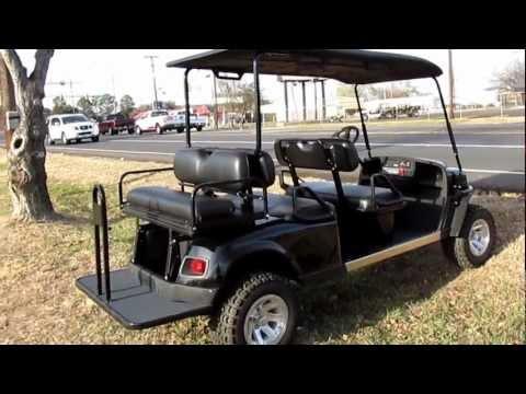 EZ Go Golf Cart, Kawasaki Gas Motor, Lift Kit, Hard Top, Six Passenger, Lights, Alloy Wheels