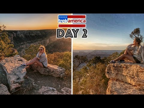 TREK AMERICA DAY 2 // THE GRAND CANYON, ARIZONA! WESTERN WONDER TRAVEL VLOG. WEST COAST ROAD TRIP!
