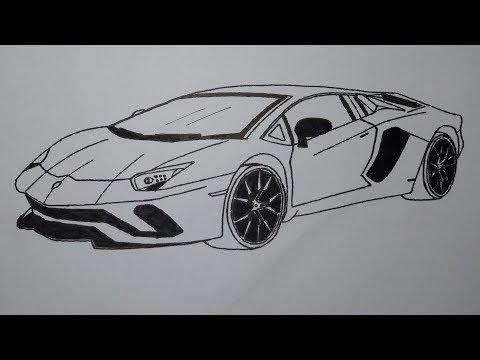 How to draw a Lamborghini car - step by step